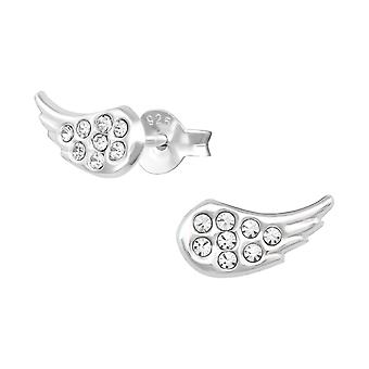 Wing - 925 Sterling Silver Crystal Ear Studs - W36476x