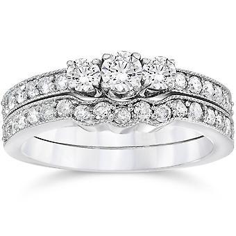 3 / 4ct drei Stein Vintage Hochzeit DiamantVerlobungsring 10K Set Weißgold