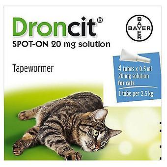 Droncit Spot op Wormer 4 buis Pack voor katten, 4 pipetten, 20g