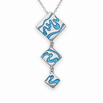 Sterling Silver Traditional Scottish Delta Hand Marine Enamel Crafted Necklace Pendant - EP274