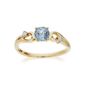 Gemondo 9 ct イエロー ゴールド ブルー トパーズ ・ ダイヤモンド クラシック ドレス ソリティア リング