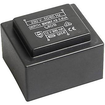Gerth PTG382401 PCB mount transformer 1 x 230 V 1 x 24 V AC 3.60 VA 150 mA