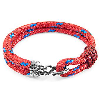 Anchor & Crew Red Great Yarmouth Silver and Rope Bracelet
