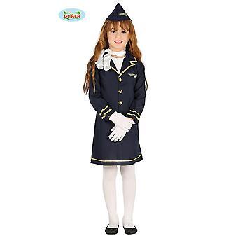 Los niños traje de azafata Sila vestido azul uniforme azafata empleo carnaval