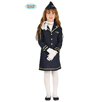 Kinderkostüm Stewardess Sila Kleid blau Uniform Flugbegleiterin Berufe Fasching