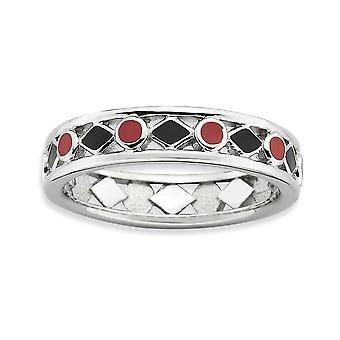 4,5 mm 925 sterling sølv svart emalje rhodium belagt stables uttrykk polert svart rød enameled ring smykker gif