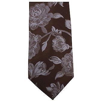 Knightsbridge Neckwear Bold Floral Tie - Brown