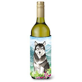 جبل الزهور Malamute ألاسكا زجاجة النبيذ المشروبات عازل نعالها