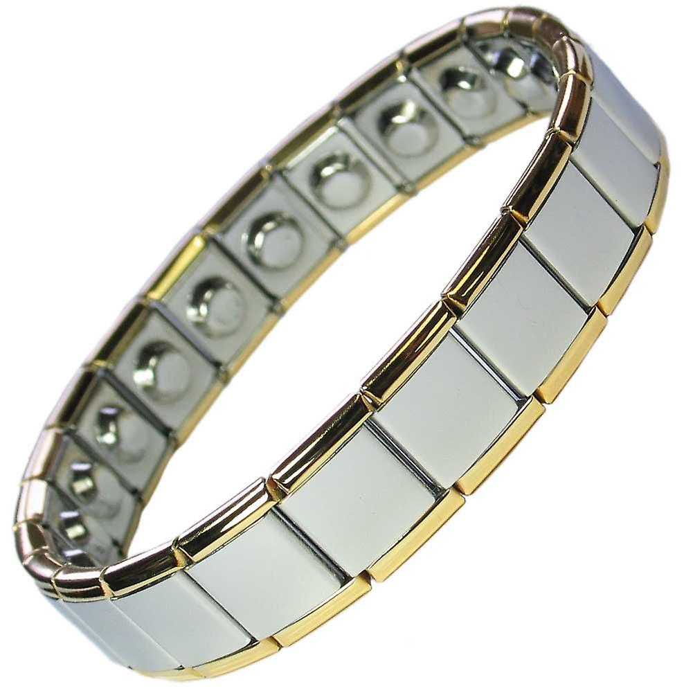 MPS® PYTHON Wide Expanding Magnetic Bracelet with Gold Edges (No Clasp)