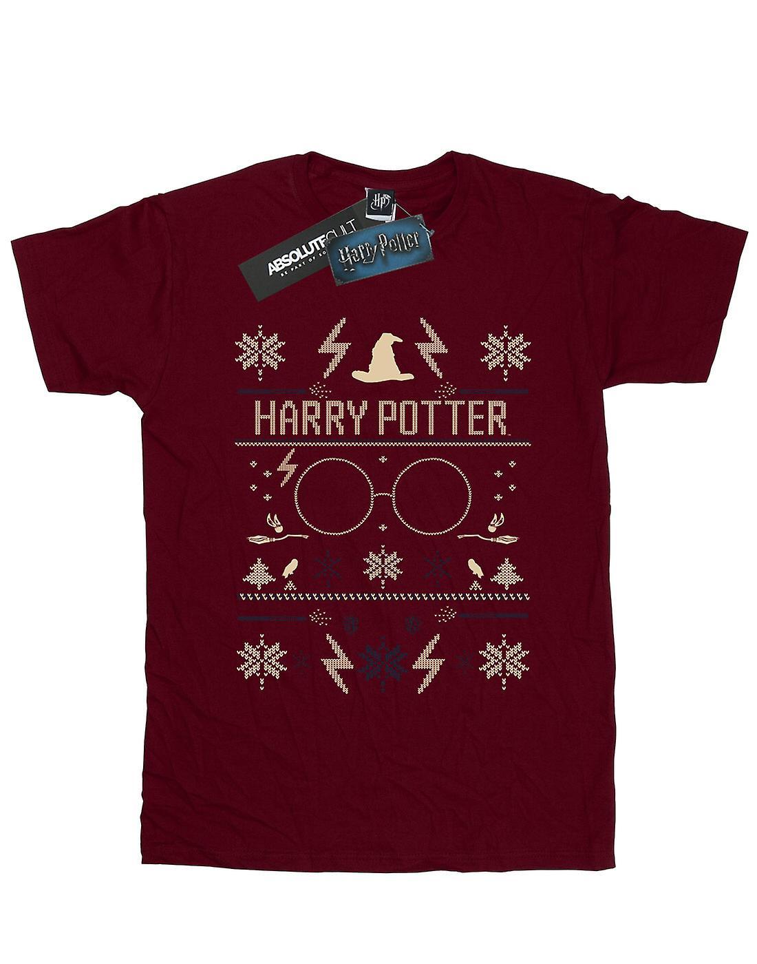 Harry Potter Women's Christmas Pattern Boyfriend Fit T-Shirt