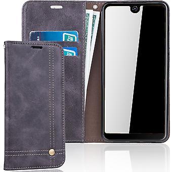 Cell phone cover case voor WIKO bekijken 2 cover Wallet case grijs