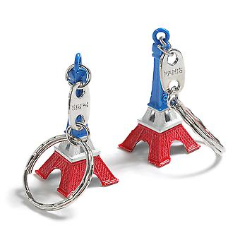 Set of 2  Tricolour Eiffel Tower Keychains Paris Accessory - By TRIXES