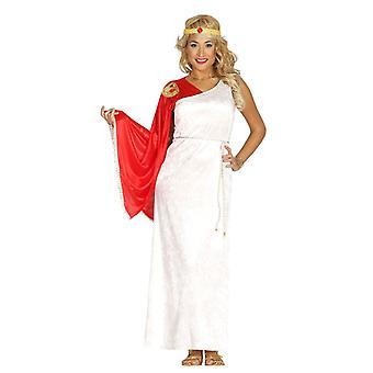 Naisten punainen & valkoinen roomalainen jumalatar Fancy Dress puku