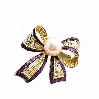 Purple Outline Gold Bow White Pearl Encrusted CZ Brooch Pin