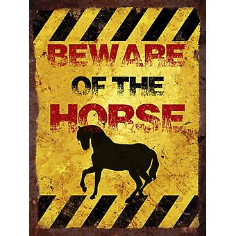 Vintage Metal Wall Sign - Beware of the horse