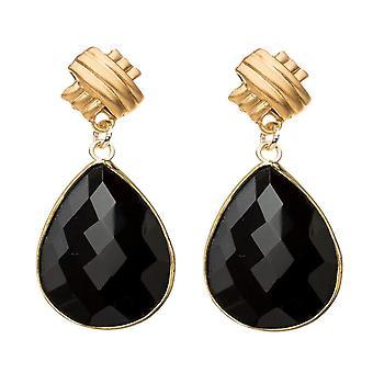 Gemshine Ohrringe schwarze Onyx Edelstein Tropfen 925 Silber oder vergoldet
