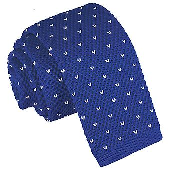 Royal Blue Flecked V Polka Dot gebreide mager gelijkspel