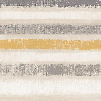 Arthouse Painted Stripe Ochre Wallpaper Paste The Wall Metallic Gold Grey Beige