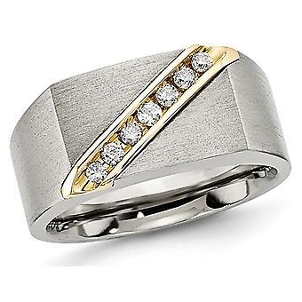 Mens Titanium Brushed Diamond Wedding Band 1/5 Carat (ctw)