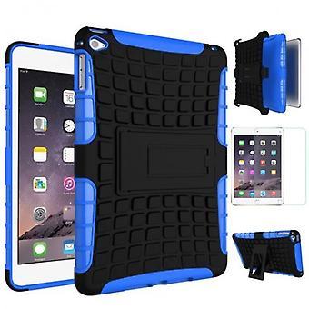 Para mini iPad de Apple 5 7,9 2019 híbrido exterior caso saco azul + 0.3 H9 vidro de proteção