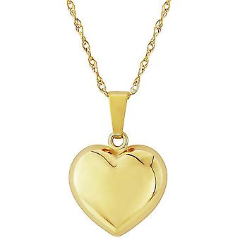 Mark Milton Small Puffed Heart Pendant - Yellow Gold