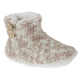SlumberzzZ Womens/Ladies Knit Patterned Fleece Lined Boot Slippers With Rubber Sole