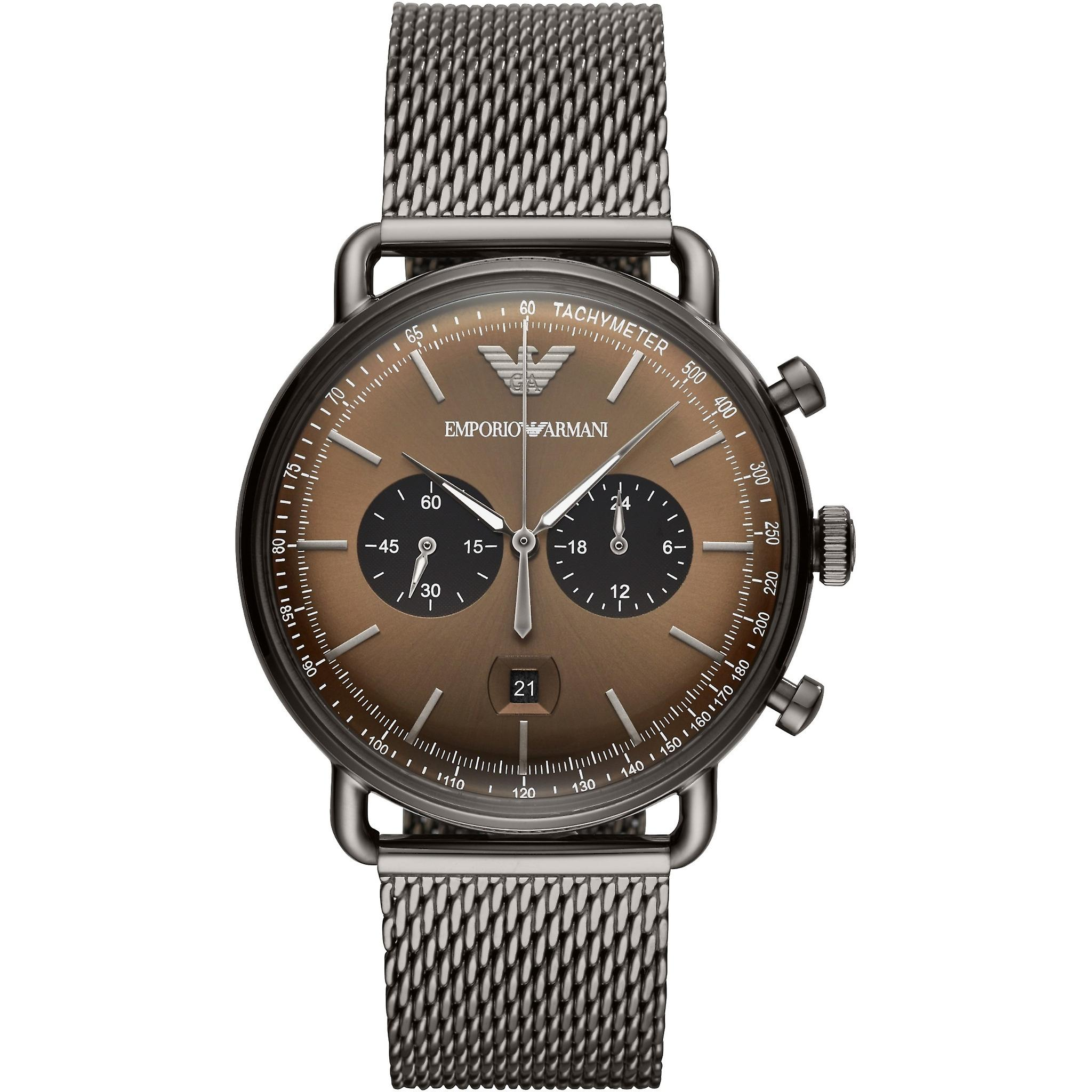 Emporio Armani Ar11141 Brown Dial Stainless Steel Men's Watch
