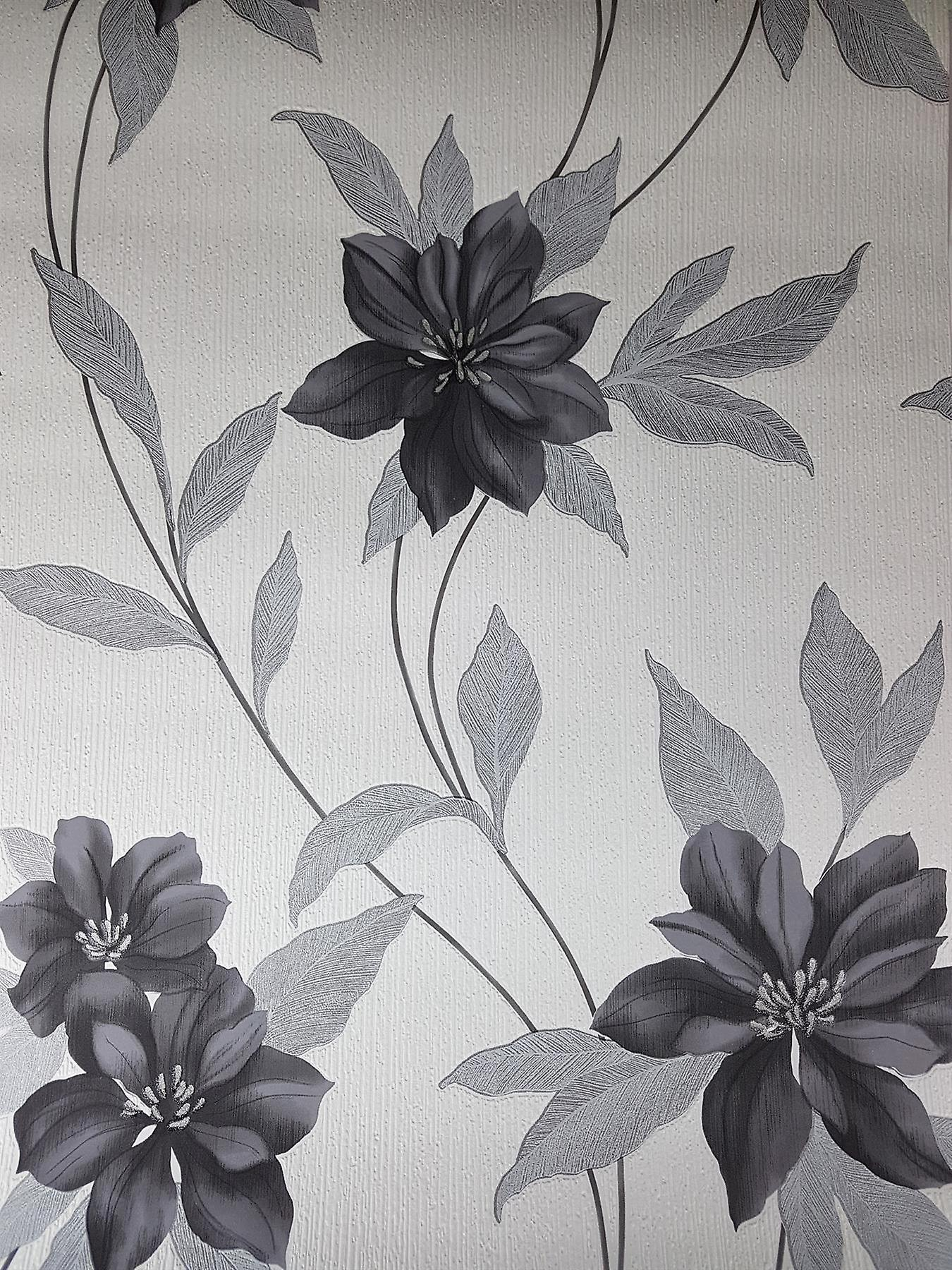 Spring Black Flower Glitter Wallpaper Floral Black White Textured Vinyl Erismann