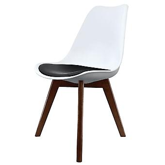 Fusion Living Eiffel Inspiré Blanc et Noir Dining Chair with Squared Dark Wood Legs