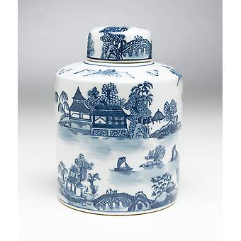 AA Importing 59721 Blue And White Round Jar With Lid
