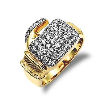 Jewelco London Men's Solid 9ct Yellow Gold White Round Brilliant Cubic Zirconia Pave Boxing Glove Novelty Ring