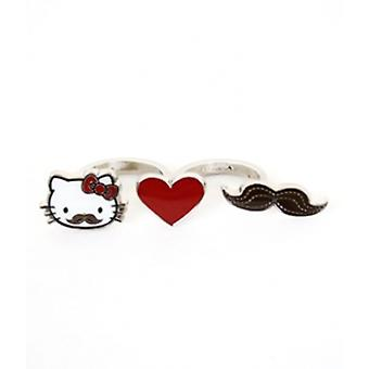 Two Finger Ring - Hello Kitty - Mustache and Heart Anime New Licensed sanr0032