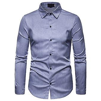 Allthemen Men's Shirt Classic Simple Solid Casual Long Sleeve Shirt