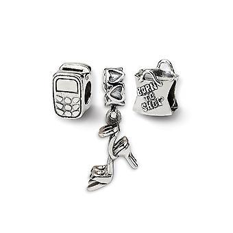 925 Sterling Sølv poleret gave boxed finish Refleksioner Stilfuld Pige Boxed Perle Charm Vedhæng halskæde Sæt smykker Gi