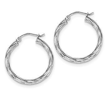 925 Sterling Silver Hinged post 2.7x25mm Twisted Hoop Boucles d'oreilles Bijoux Bijoux pour les femmes - 2,3 Grammes