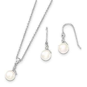 925 Sterling Silver 7 8mm White Freshwater Cultured Pearl CZ Cubic Zirconia Simulated Diamond Necklace and Earrings Set 925 Sterling Silver 7 8mm White Freshwater Cultured Pearl CZ Cubic Zirconia Simulated Diamond Necklace and Earrings Set 925 Sterling Silver 7 8mm White Freshwater Cultured Pearl CZ Cubic Zirconia Simulated Diamond Necklace and Earrings Set 92