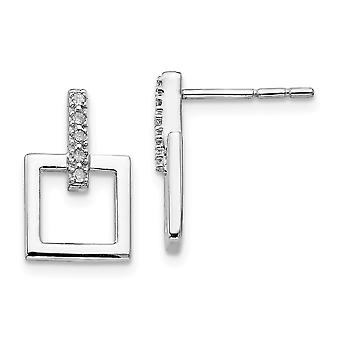 Polished Gift Boxed Post Earrings Rhodium plated White Ice .05ct. Diamond Earrings Jewelry Gifts for Women