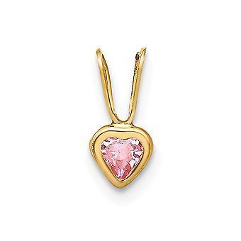 14k Gul Guld polerad rosa CZ Cubic Zirconia Simulerad Diamond Love Heart Hängande Halsband Smycken Gåvor för kvinnor