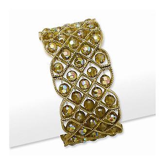 Guldton Mässing ton Olive Aurora Borealis Crystal Stretch Armband Smycken Gåvor för kvinnor