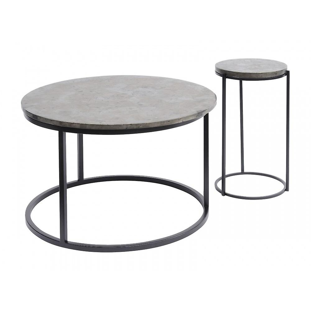 Libra Furniture Golden Metallic And Black Circular Coffee Table