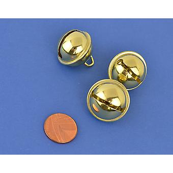 3 Gold 24mm Cat Bell Style Jingle Bells for Crafts