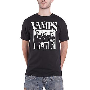 The Vamps T Shirt Group Up Band Photo Distressed Logo Official Mens New Black