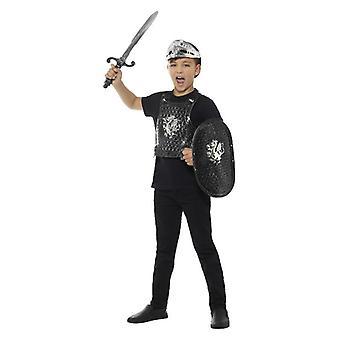 Jongens Dark Knight Set: Armour, Shield, Sword & helm Fancy Dress accessoire