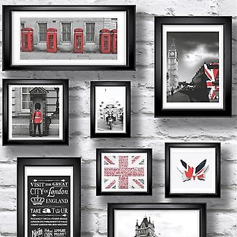 Muriva Britain In Frames Wallpaper Black Red White Washed Brick Effect Pictures