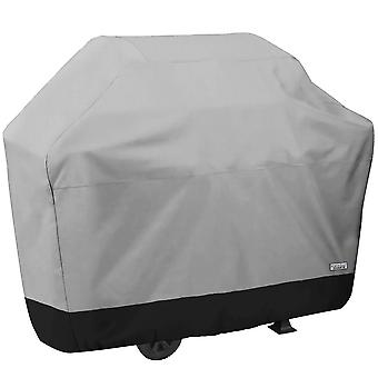 """Premium Waterproof Barbeque BBQ Grill Cover - Large 64"""" Length (64""""L x 24""""Dx 46""""H) - Breathable Material, UV Protected, and Weather Resistant Storage Cover - Gray with Black Hem"""