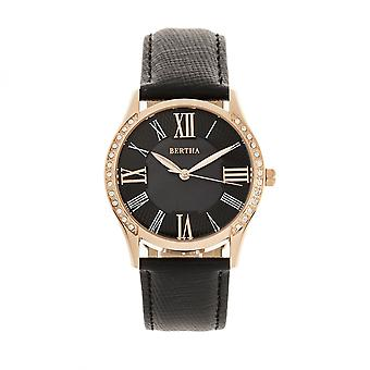 Bertha Sadie Mother-of-Pearl Leather-Band Watch - Black
