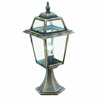 1 Light Outdoor Pedestal Lantern Black, Gold Ip44