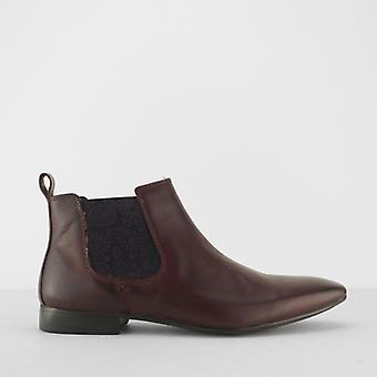 Silver Street London Carnaby Mens Leather Slip On Chelsea Boots Wine