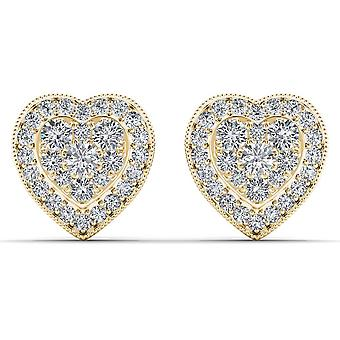 Igi certified 10k yellow gold 0.33 ct brilliant diamond heart shaped earrings