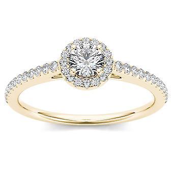 Igi certifierad 14k gult guld 0,50 ct naturlig diamant halo förlovningsring